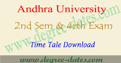 AU degree 2nd sem & 4rth semester time table 2017 bsc bcom ba exam dates
