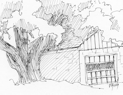 art sketch pen ink garage tree rural