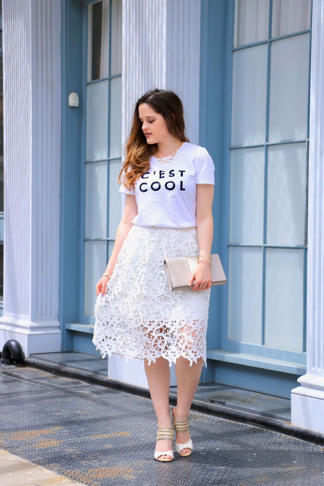 nyc fashion blogger Kathleen Harper showing how to wear a graphic tee to work