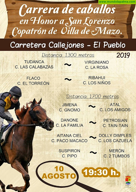 Programa de la festividad de San Lorenzo y San Roque Villa de Mazo 2019.