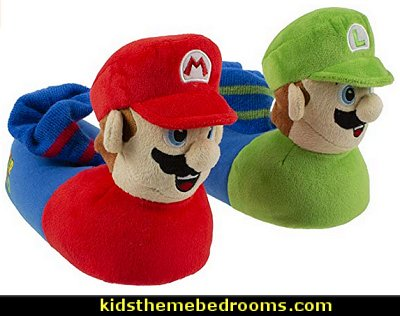 Super Mario Brothers Mario and Luigi Slippers   Gamer bedroom - Video game room decor - gamer bedroom furniture - gamer wall decal stickers - Super Mario Brothers Wall Stickers - gamer bedding - Super Mario Brothers bedding - Pacman decor -  Retro Arcade bedrooms - 80s video gamers - gamer throw pllows - minecraft bedroom ideas - minecraft bedroom decor