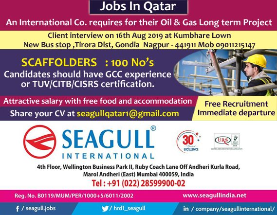 Scaffolders Required for Qatar