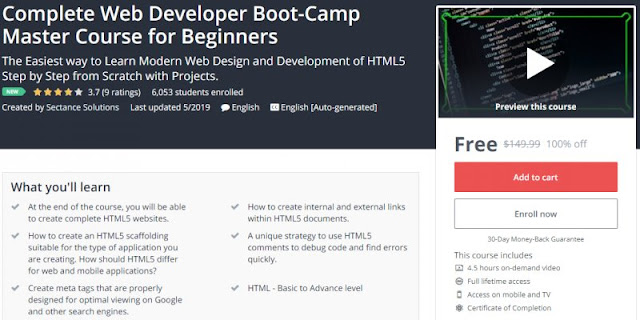 [100% Off] Complete Web Developer Boot-Camp Master Course for Beginners| Worth 149,99$