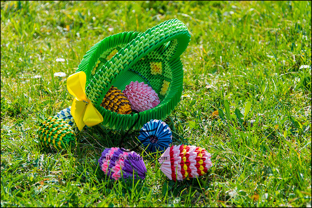 408. Pisanki i koszyczek / 3d origami easter eggs and basket