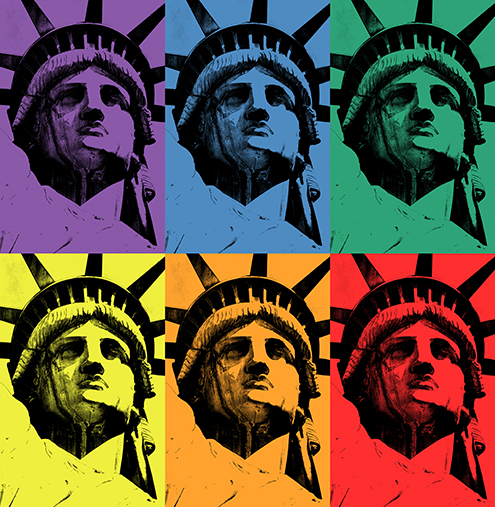 lady liberty illustration statue of liberty vector new york city por art graphic design art photoshop inkscape free estatua de la libertad nueva dibujo drawing estilo andy warhol style tryad primary and complementary colors triada de primarios y complementarios colores