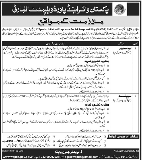 New Jobs in WAPDA Water And Power Development Authority for Lead Manager, Sepecialist 2018