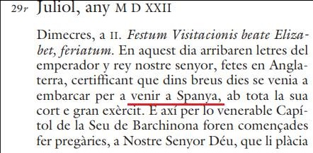 Dietari de la Generalitat de Cataluña de julio de 1522