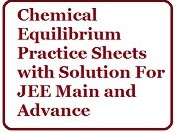IIT JEE chemical equilibrium practice sets with solution PDF
