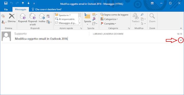 Outlook 2016, espandere intestazione messaggio