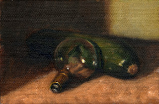 Oil painting of an older-style light bulb resting on a zucchini.