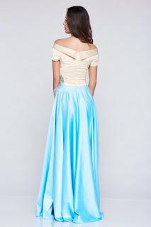 Rochie de ocazie brodata LaDonna albastra-deschis din material satinat 2
