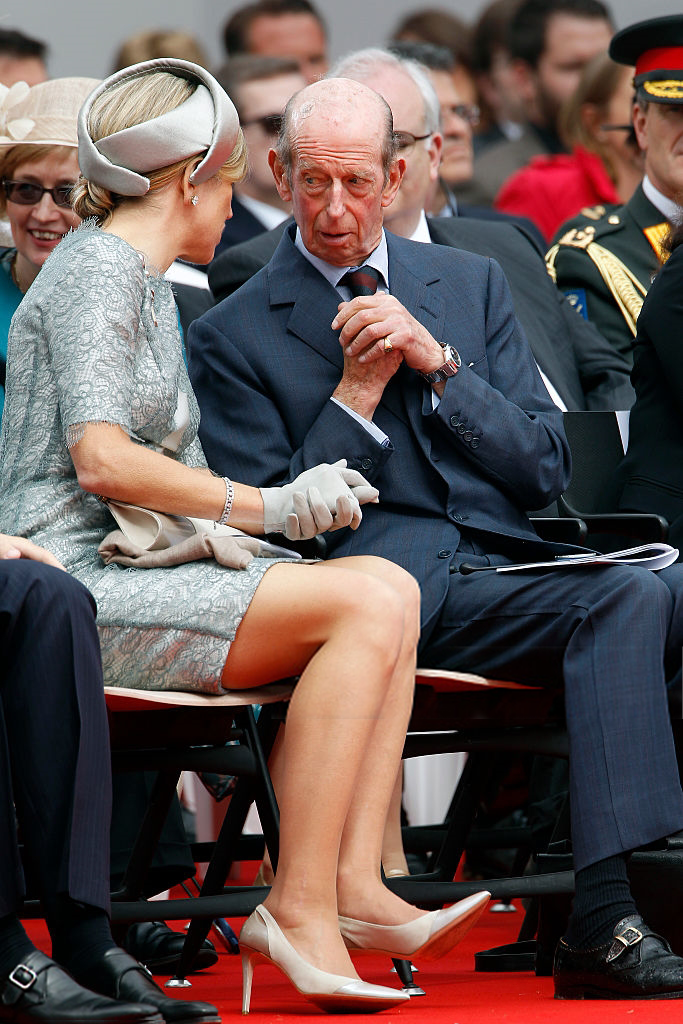 Queen Maxima of the Netherlands and Prince Edward, Duke of Kent attend the Belgian federal government ceremony to commemorate the bicentenary of the Battle of Waterloo on June 18, 2015 in Waterloo, Belgium.