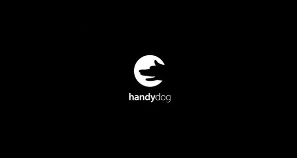 Hidden and Clever Hand+Dog Logo Example