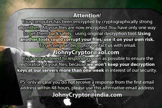 JohnyCryptor@aol.com.xtbl (Ransomware)