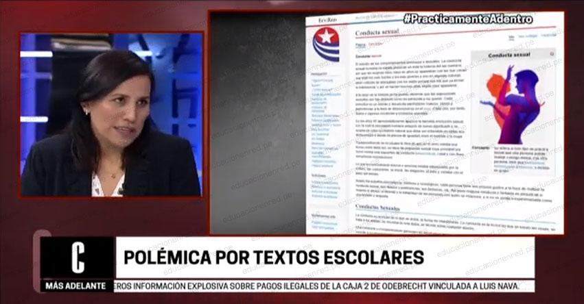 POLÉMICA POR TEXTOS ESCOLARES: «Hay responsabilidad del área pedagógica», sostuvo la Ministra de Educación Flor Pablo Medina [VIDEO]