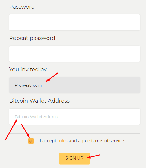 Регистрация в Bitstant 2