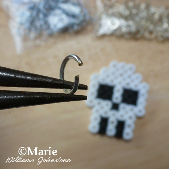 Making fused Hama Perler bead earrings open jump ring and jewelry pliers