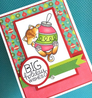 Kitty with Christmas Ornament card by Lynn Put | Ornamental Newton Stamp set by Newton's Nook Designs #newtonsnook