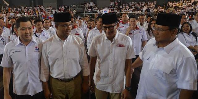 Hitung Cepat Unggul Anies-Sandi, Relawan Teriak 'Prabowo Presiden'