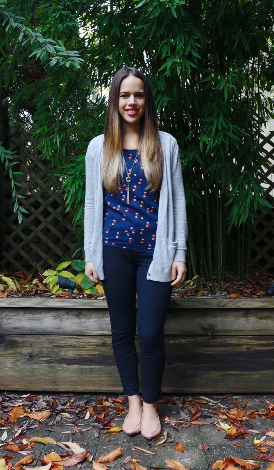 Jules in Flats - Fun Dot Top with Cardigan and Black Ankle Pants (Business Casual Fall Workwear on a Budget)