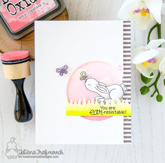 Bunny Card by Tatiana Trafimovich | Bitty Bunnies Stamp Set and Die Set by Newton's Nook Designs #newtonsnook