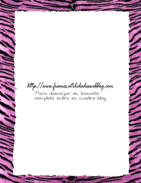 marco para fotos rosa animal print de rayas