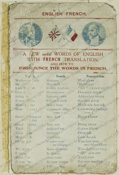 The first page of a  French phrase pamphlet for British soldiers including pronunciations (D/DLI 2/6/10(260))