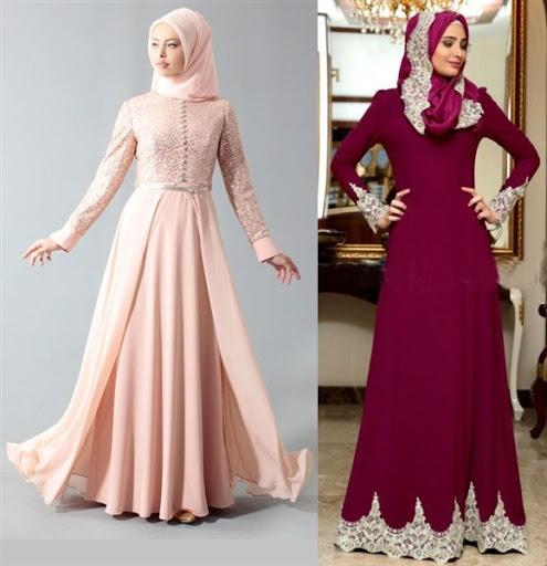 Model Baju Muslim Pesta Kombinasi Brokat dan Bordir Terbaru 2017/2018