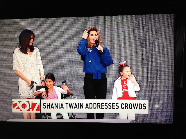 Screenshot CBC coverage Canada 150, Ottawa - Shania Twain