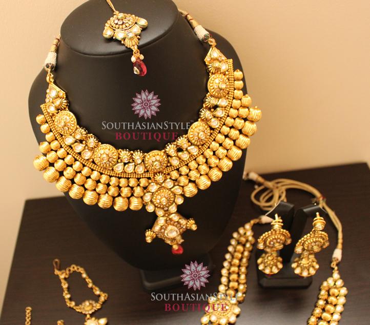 Bridal Jewellery Set Antique Gold Gram Amp Kundan Set