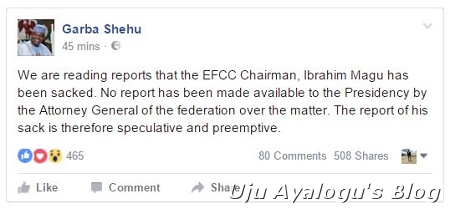 Just In: President Buhari Reacts to Allegations Over the Sacking of EFCC Boss, Magu