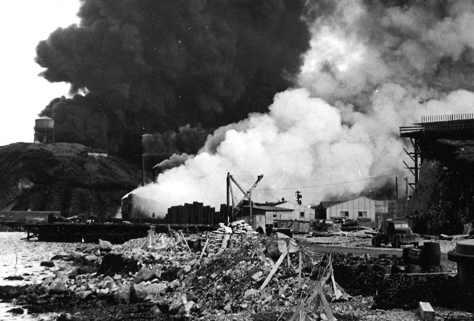Bombing of SS Northwestern and oil tanks in Dutch Harbor, Alaska, by Japanese carrier-based aircraft on June 4, 1942.