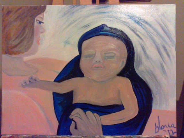 """A mother and newborn"" oil painting by Gloria poole; yr 2012"