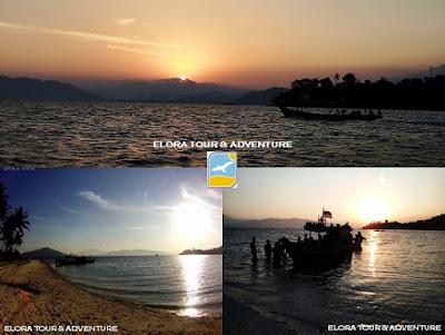 sunset di pulau maitem lampung