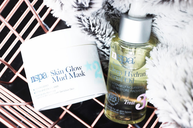 nspa Skin Glow Mud Mask Step 2 Exfoliate, nspa Deep Hydration Facial Oil Step 3 Treat