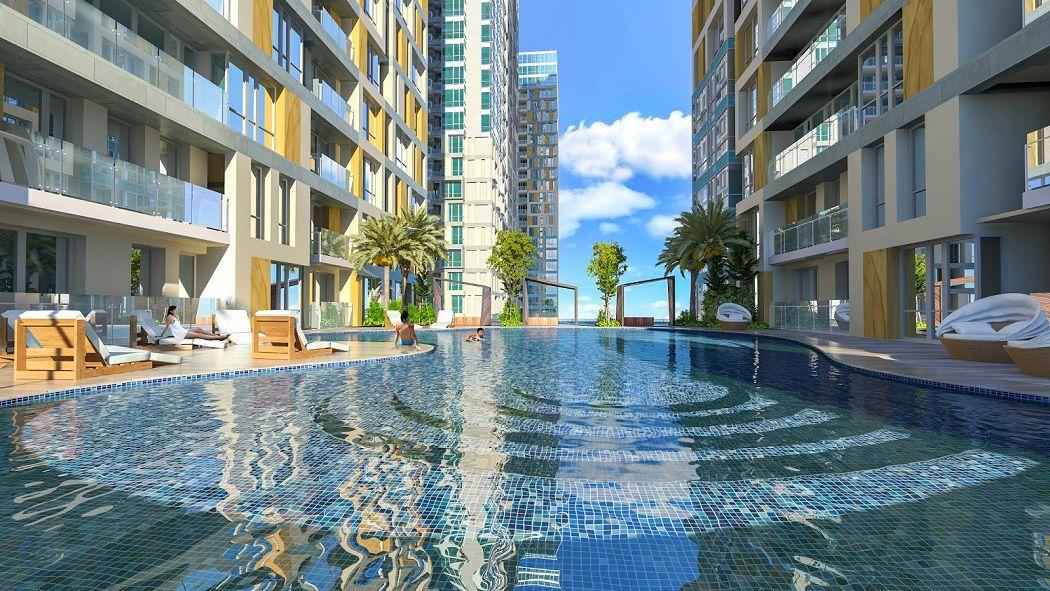 bể bơi ngoài trời tại chung cư goldseason 47 nguyễn tuân