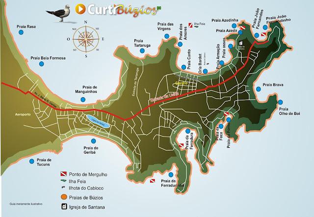 Mapa das praias de Búzios