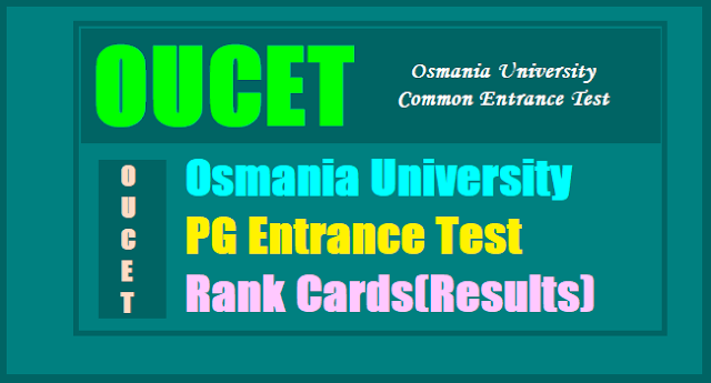 OUCET Results 2017, OU PGCET 2017 Results, OUPGCET Results 2017