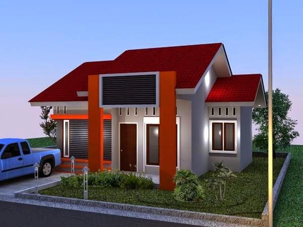 Rumah minimali dengan kombinasi warna merah jingga dan oranye