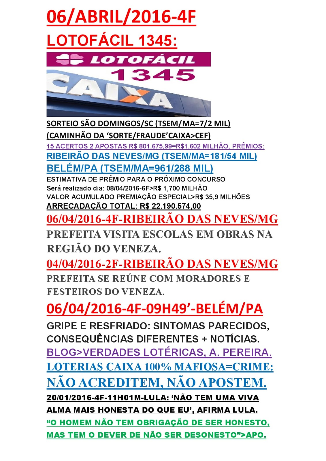 474 2016u003eu003e06/04 4Fu003eSORTEIO SÃO DOMINGO/SC (TSEM/MAu003d7/2 MIL)u003e(CAMINHÃO DA  U0027SORTE/FRAUDEu0027u003eCAIXA/CEF)u003eLOTOFÁCIL 1345/2 PREMIADOS R$ 801 MIL,CADAu003dR$  1,602 ...