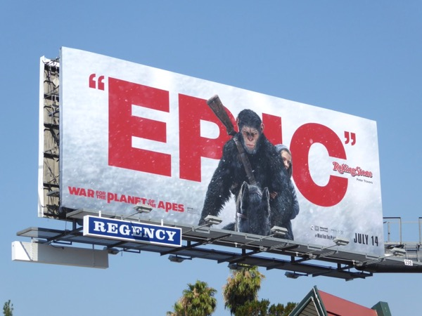 Epic War for the Planet of the Apes movie billboard