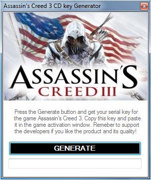 Assassin's Creed 3 CD Key Generator v 1 5 4 - New 2013 ~ Hacks For