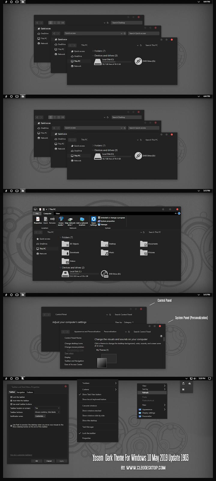 Yosem Dark Theme For Windows10 May 2019 Update 1903 - Cleodesktop I