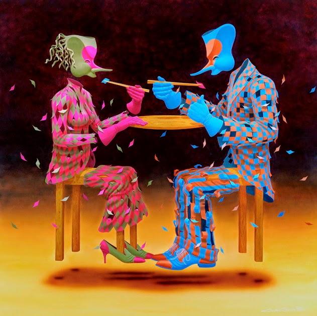 O Almoço - Claudio Souza Pinto e suas pinturas cheias de cor e criatividade