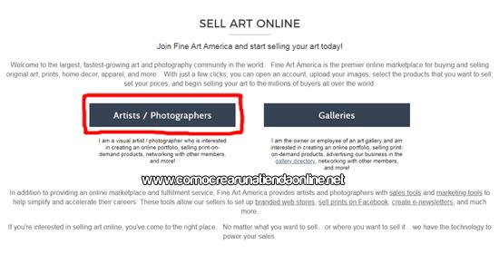 Registrarse en Fine Art America
