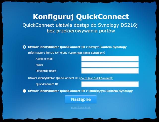 Ustawianie konta Synology i usługi QuickConnect ID