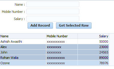 Get selected row (single/multiple) from POJO based table in ADF