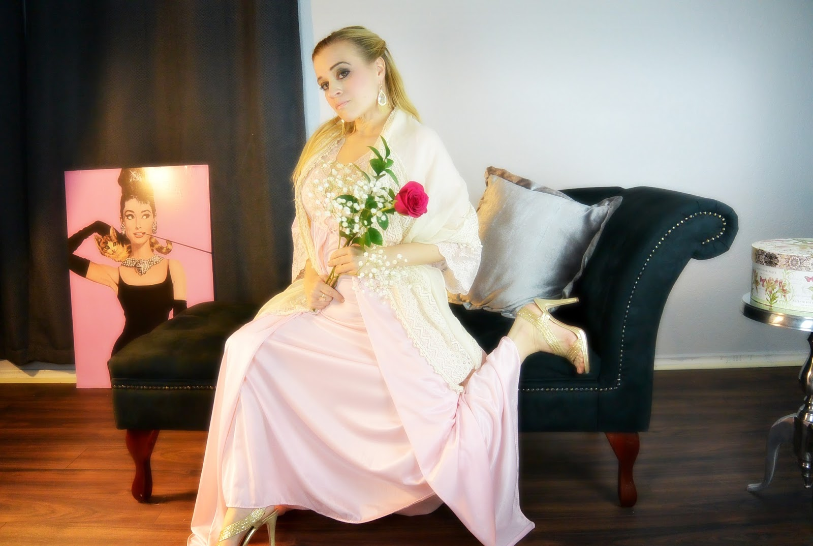 blonde modeling vintage nightgown on chaise