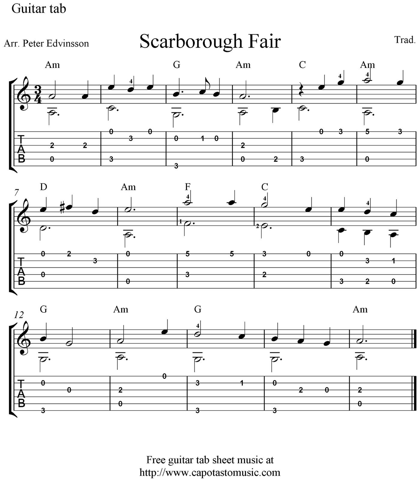 Free Easy Piano Sheet Music Score Scarborough Fair: Scarborough Fair, Free Guitar Tablature Sheet Music Solo