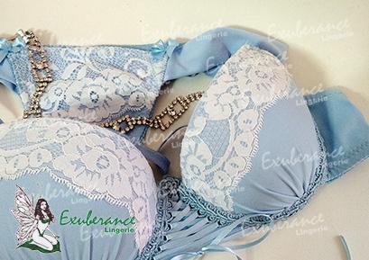 Lingerie Azul e Branco - Exuberance Lingerie